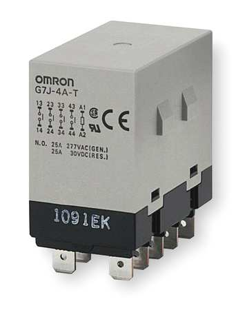 Omron Enclosed Power Relay, 10Pin, 24VAC, 4PST-NO G7J-4A-T-W1-AC24