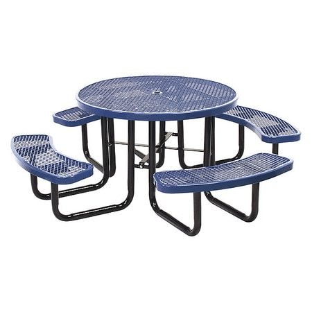 """Leisure Craft Inc. Portable, Round, Picnic Table, 46"""", Navy T46ROP-NAVY"""