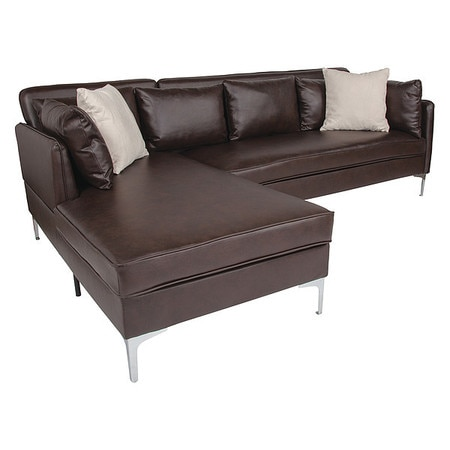 L-Shape Sectional Chaise, Brown