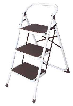 Cool 3 Steps Steel Step Stool 300 Lb Load Capacity White Pabps2019 Chair Design Images Pabps2019Com