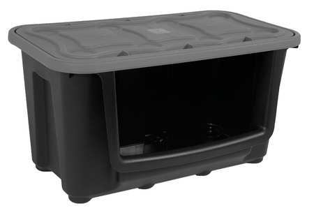 Zoro Select Black Stacking Container 30 in x 17 in x 15 5/8 in H,  1 PK 7720GRBK.06