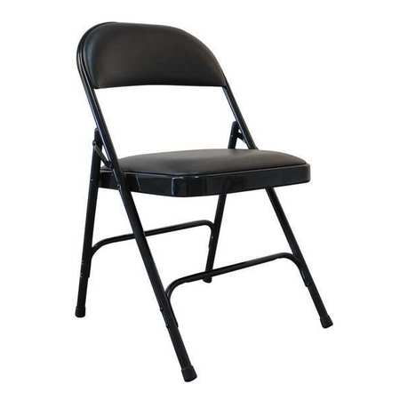 Magnificent Padded Folding Chair Vinyl Black 300 Lb Pabps2019 Chair Design Images Pabps2019Com