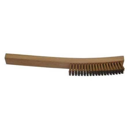 """Byte Brothers Carbon Steel Scratch Brush, 4"""" x 19"""" Rows, Brass,  , Hardwood 53604BRS"""