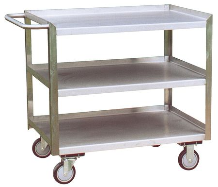Zoro Select Stainless Steel Corrosion-Resistant Utility Cart with Single-Side Flush Metal Shelves,  Flat XY248U500
