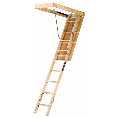 """Louisville Attic Ladder,  Wood,  8 ft. 3/4"""" to 10 ft. Ceiling Height Range,  250 lb. Load Capacity,  ANSI Type I L224P"""