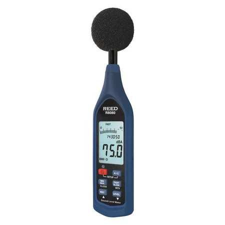 Reed Instruments Sound Level Meter,  Datalogger with Bargraph,  30 to 130 dB R8080