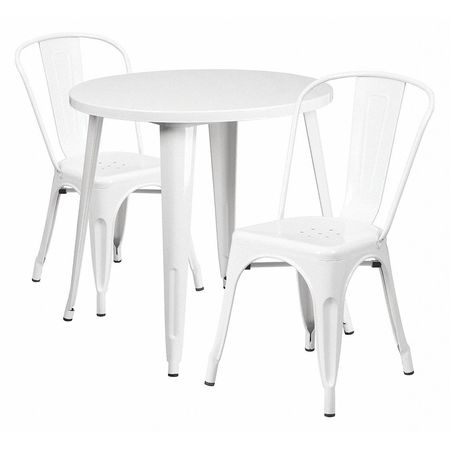 """Flash Furniture Round 30"""" X 30"""" X 29.5"""",  Metal Top,  White CH-51090TH-2-18CAFE-WH-GG"""