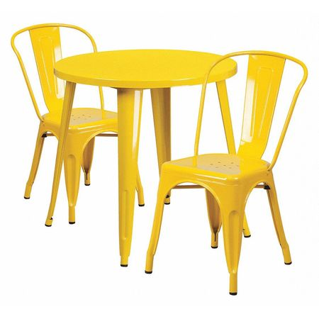 """Flash Furniture Round 30"""" X 30"""" X 29.5"""",  Metal Top,  Yellow CH-51090TH-2-18CAFE-YL-GG"""