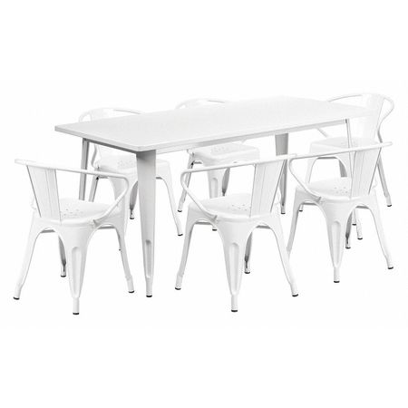 Groovy White Metal Table Set 31 1 2X63 Theyellowbook Wood Chair Design Ideas Theyellowbookinfo