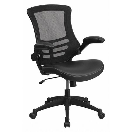 Admirable Swivel Chair With Mid Back Black Mesh And Leather Seat Gmtry Best Dining Table And Chair Ideas Images Gmtryco