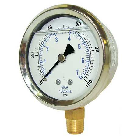 Pic Gauges Pressure Gauge,  0 to 3000 psi,  1/4 in MNPT,  Stainless Steel,  Silver PRO-201L-254P