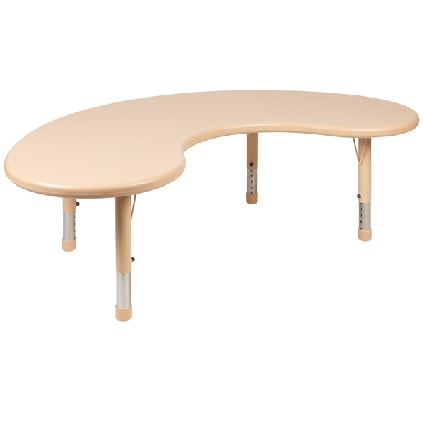"Flash Furniture 35""W x 65""L Half-Moon Natural Plastic Height Adjustable Activity Table YU-YCX-004-2-MOON-TBL-NAT-GG"