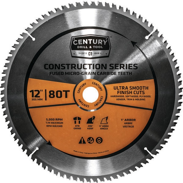 "Century Drill And Tool Circular Saw Blade General Construction Grade Mitre 12"" 80T 1"" Arbor 10244"