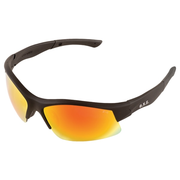 Erb Safety Breakout Safety Glasses,  Black Frame And Red Mirror Lens 18013