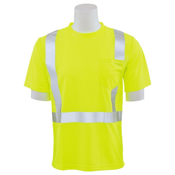 Erb Safety T-Shirt,  Birdseye Mesh,  Short Sleeve,  Class 2,  9006S,  Hi-Viz Lime,  SM 61668