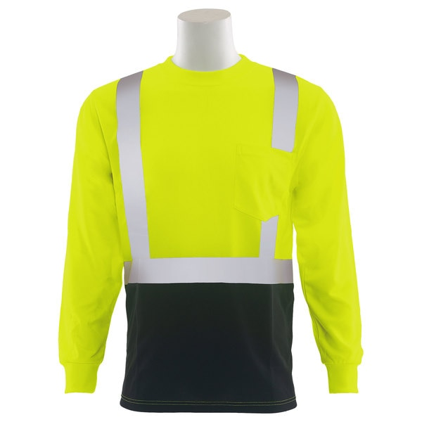 Erb Safety T-Shirt,  Birdseye Mesh,  Long Slv,  Class 2,  9007SB,  Hi-Viz Lime/Blk, 2XL 62417