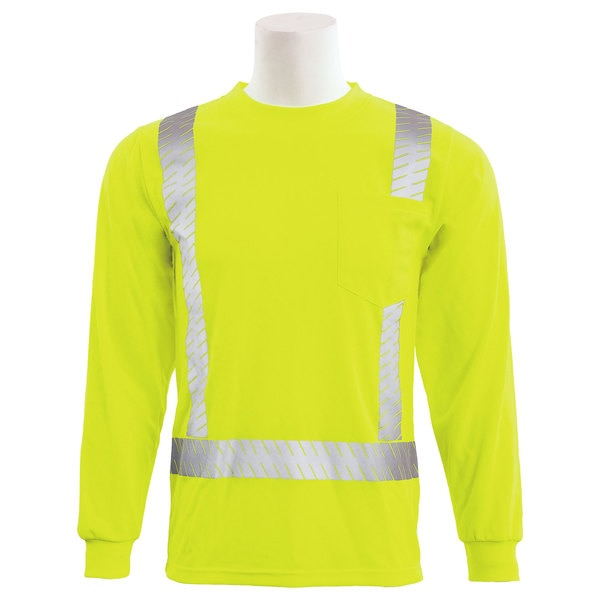 Erb Safety T-Shirt,  Birdseye Mesh,  Long Slv,  Class 2,  9007SEG,  Hi-Viz Lime,  MD 62266