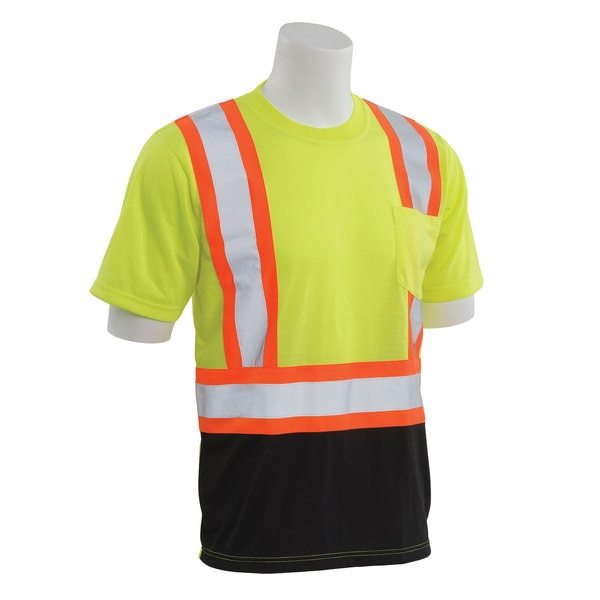 Erb Safety T-Shirt,  Jersey Knit,  Short Slv,  Class 2,  9604SBC,  Hi-Viz Lime/Blk, 4XL 63605