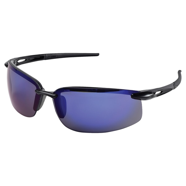 Erb Safety Overlander Safety Glasses,  Glossy Blk Frame,  Blue Silver Mirror Lenses 15592