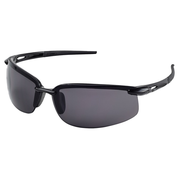 Erb Safety Overlander Safety Glasses,  Glossy Blk Frame,  Gray Silver Mirror Lenses 15590