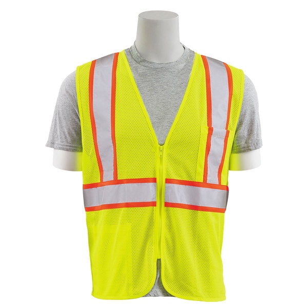 Erb Safety Safety Vest,  Flame Retardant Treated,  Class 2,  S195C,  Hi-Viz Lime,  5XL 64726