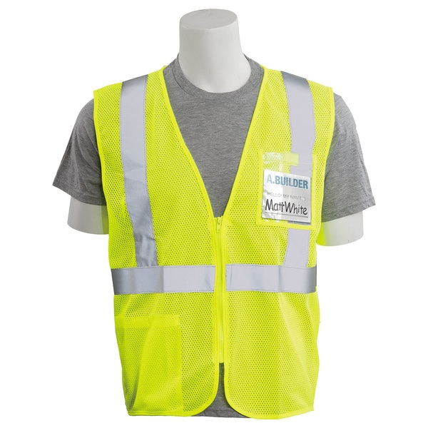 Erb Safety Safety Vest,  Chest ID Pocket,  Mesh,  Class 2,  S363ID,  Hi-Viz Lime,  MD 62660
