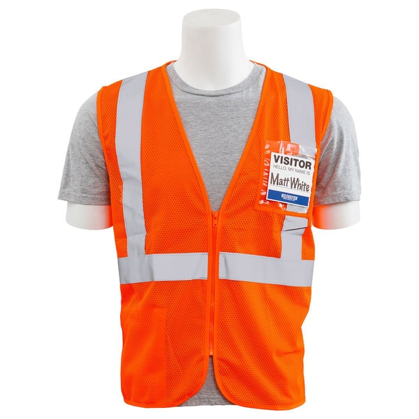 Erb Safety Safety Vest,  Chest ID Pocket,  Mesh,  Class 2,  S363ID,  Hi-Viz Orng,  4XL 62672