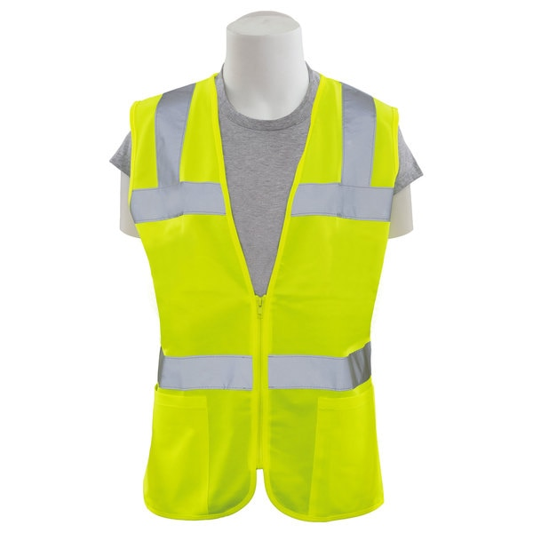 Erb Safety Safety Vest,  Womens Fit,  Mesh,  Class 2,  S720,  Hi-Viz Lime,  2XL 61919