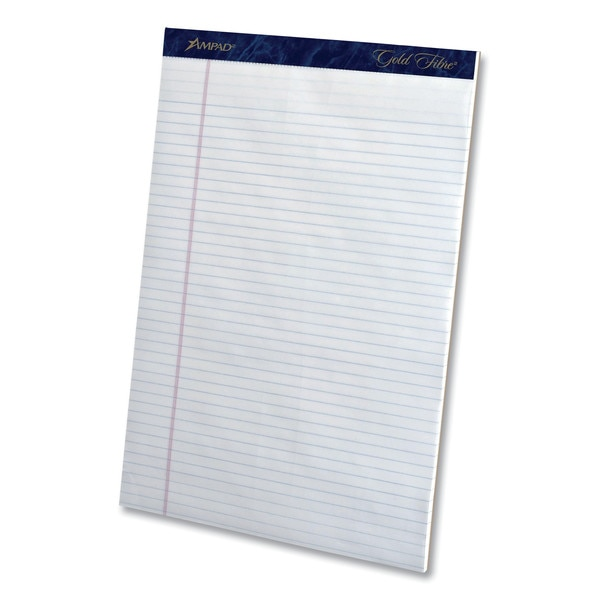Ampad Gold Fibre Writing Pads,  Narrow Rule,  8.5x11.75,  White,  50 Sheet,  PK12 20-072R