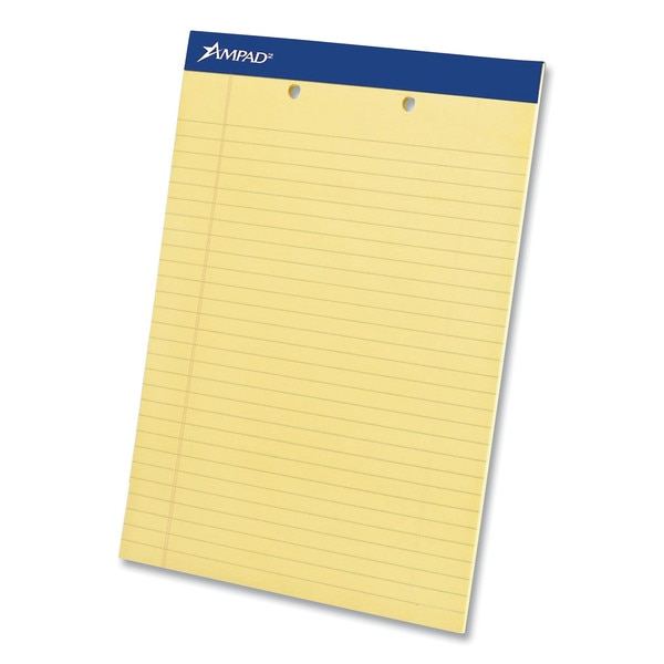 Ampad Writing Pads, Wide/Legal,  Canary,  2-Hole Top,  8.5x11.75,  50 Sheet,  PK12 20-224