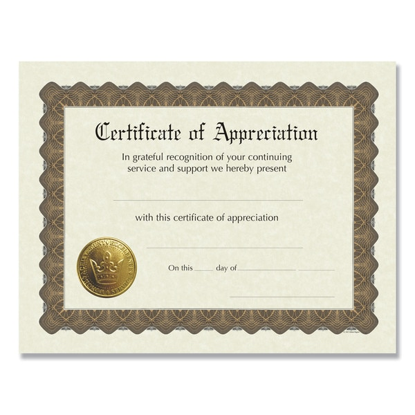 Great Papers! Ready-to-Use Certificates,  11 x 8.5,  Ivory/Brown,  Appreciation,  PK6 930000