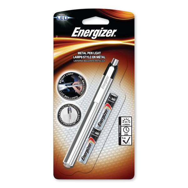 Energizer LED Pen Light,  2 AAA Batteries (Included),  Silver/Black PLED23AE