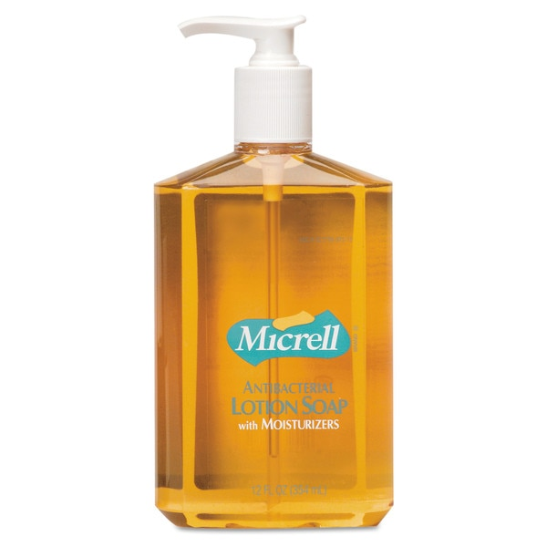 Micrell Antibacterial Lotion Soap,  12oz,  Pump Bottle,  Light Scent,  PK12 9759-12