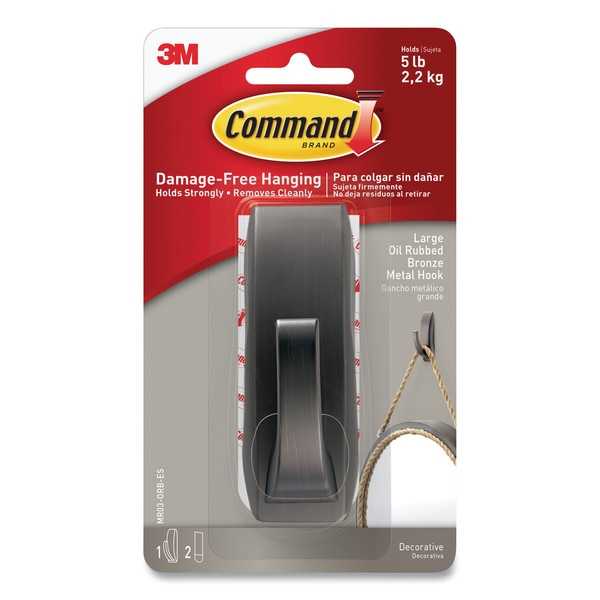 "Command Bath Picture Hanging Strips,  Large,  0.75"" x 3.65"",  White,  PK4 17206B-ES"
