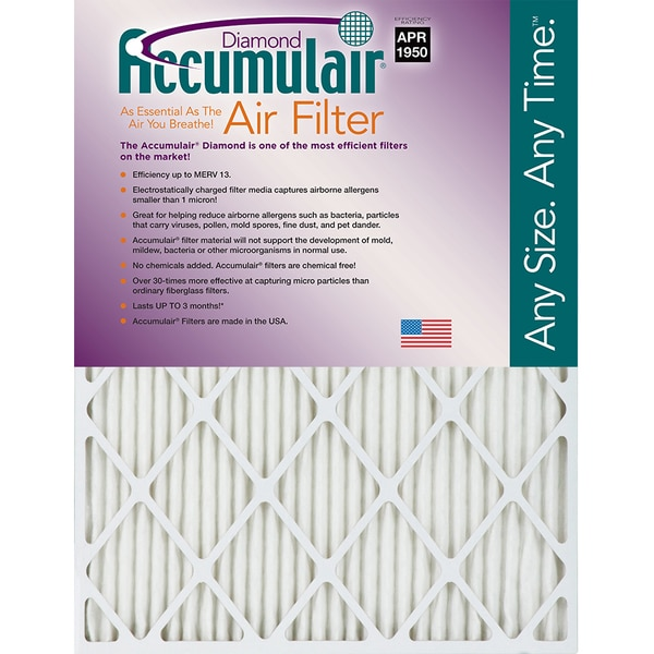 "Accumulair Pleated Air Filter,  20"" x 34"" x 1"" FD20X34_4"