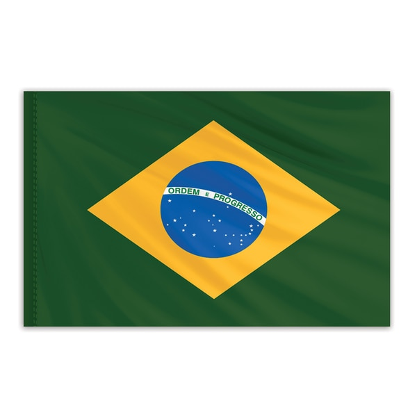 Global Flags Unlimited Brazil Indoor Nylon Flag 2'x3' with Gold Fringe 201343F