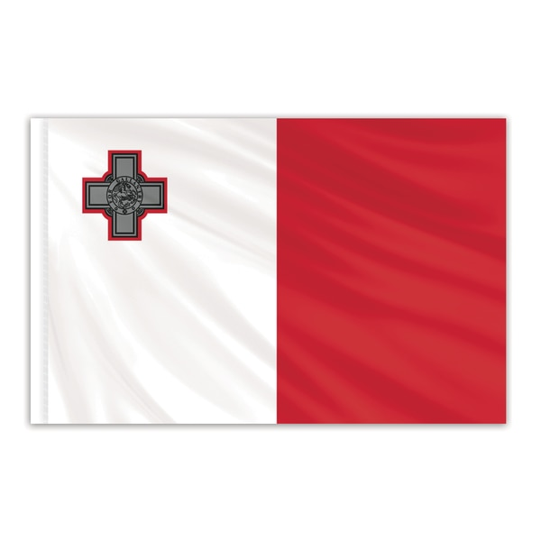 Global Flags Unlimited Malta Indoor Nylon Flag 4'x6' with Gold Fringe 202368F