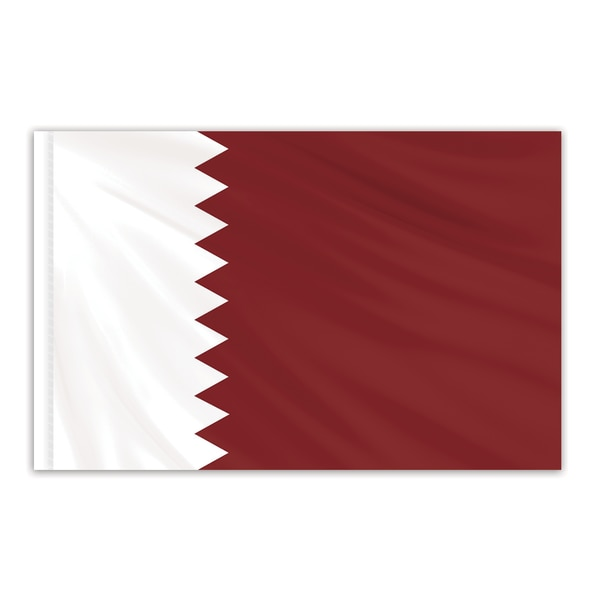 Global Flags Unlimited Qatar Indoor Nylon Flag 5'x8' with Gold Fringe 202755F