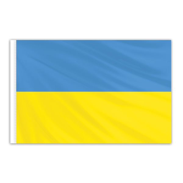 Global Flags Unlimited Ukraine Indoor Nylon Flag 3'x5' with Gold Fringe 203179F