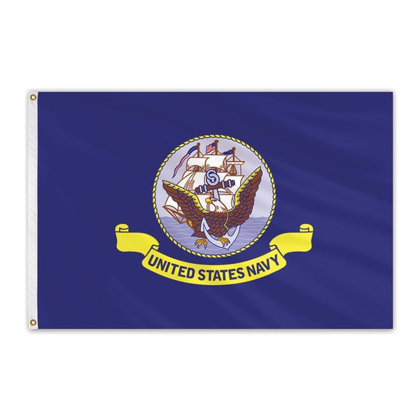 "Global Flags Unlimited Navy Outdoor Nylon Flag 12""x18"" 210323"