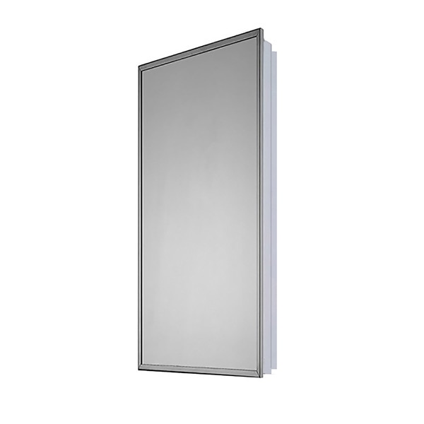 "Ketcham 18"" x 42"" Euroline Partially Recessed SS Framed Medicine Cabinet 133-PR"