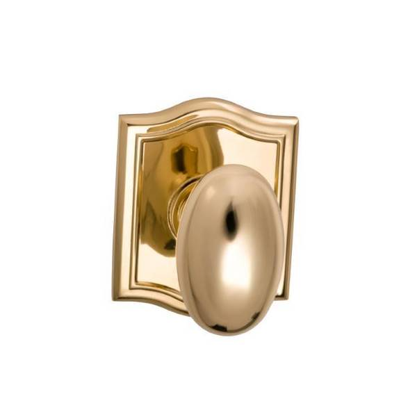 "Omnia Knob Arched Rose Pass 2-3/8"" BS Full Lip Strike Bright Brass 434 434AR/238F.PA3"