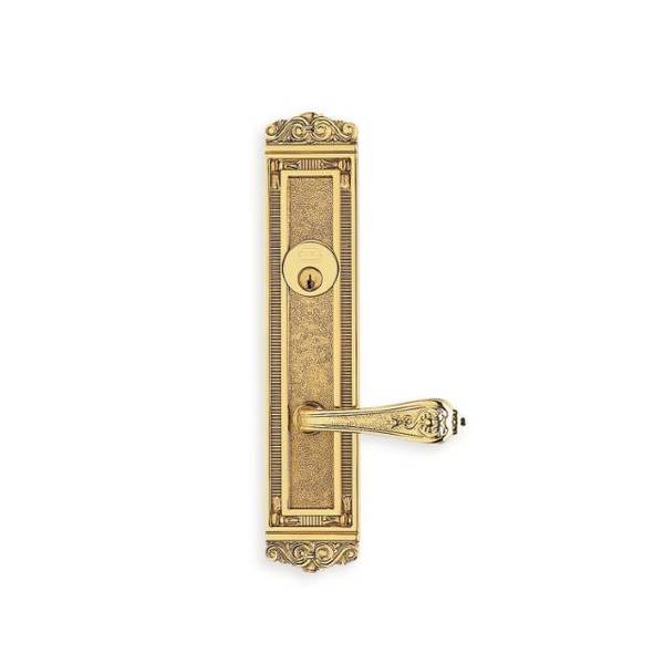 Omnia LH 252 Lever 56000 Plate Double CYL 234BS Mortise Lock Bright Brass 56252AC00L1