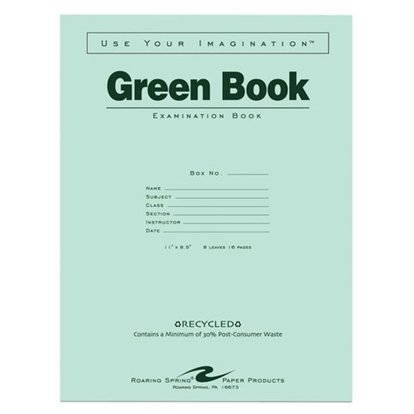 Roaring Spring Recycled Green Exam Book,  Wide, PK10000 77509PL