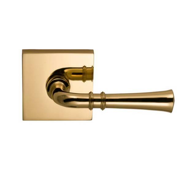 "Omnia Lever Square Rose Pass Lever 2-3/8"" BS T Strike Bright Brass 785 785SQ/238T.PA3"