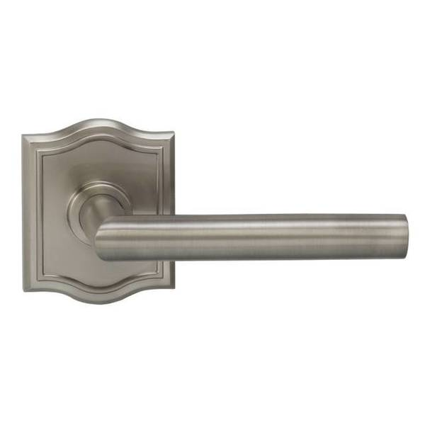 "Omnia Lever Arched Rose Pass Lever 2-3/4"" BS T Strike Satin Nickel 912 912AR/234T.PA15"