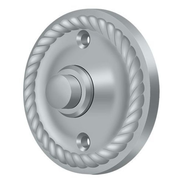 Deltana Bell Button,  Round Rope Satin Chrome BBRR213U26D