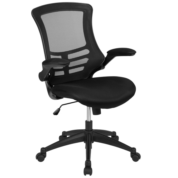 Flash Furniture Mid-Back Black Mesh Swivel Ergonomic Task Office Chair with Flip-Up Arms BL-X-5M-BK-GG