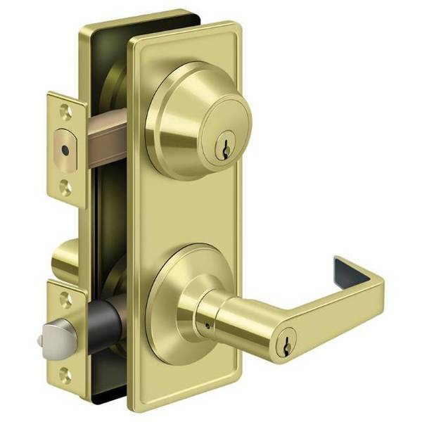 Deltana Interconnected Lock Gr2,  Entry With Claredon Lever Bright Brass CL300ILC-3