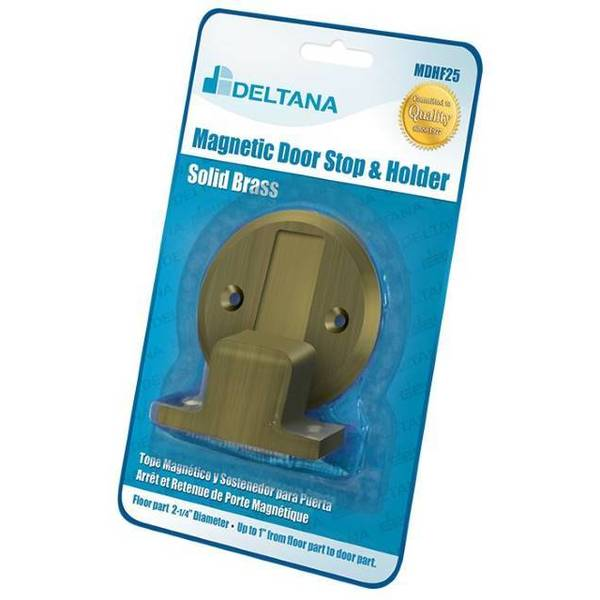 "Deltana Magnetic Door Holder Flush 2-1/2"" Diameter Blister Pack Antique Brass MDHF25BP5"